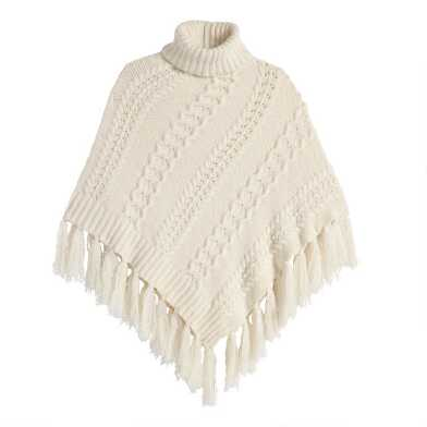Ivory Funnel Neck Tassel Sweater Poncho