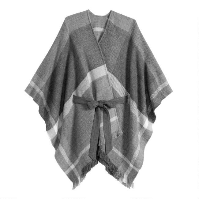 Gray Plaid Blanket Wrap With Tie Belt