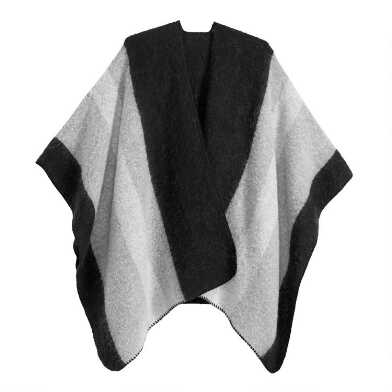 Black And Gray Colorblock Brushed Blanket Wrap