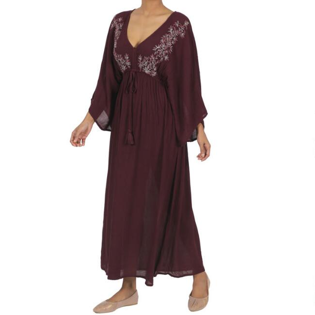 Wine Embroidered Floral Mira Kaftan Dress