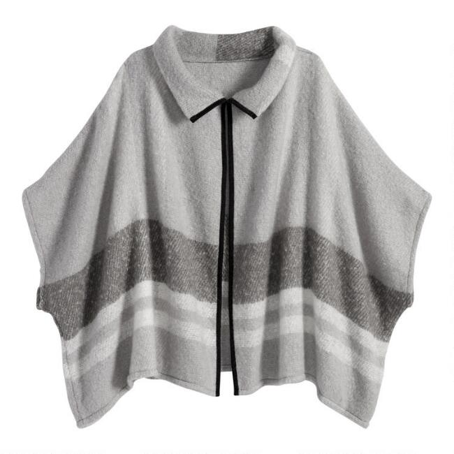Gray Stripe Funnel Neck Midge Jacket