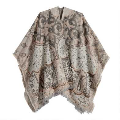 Tan And Ivory Paisley Overstitch Wrap