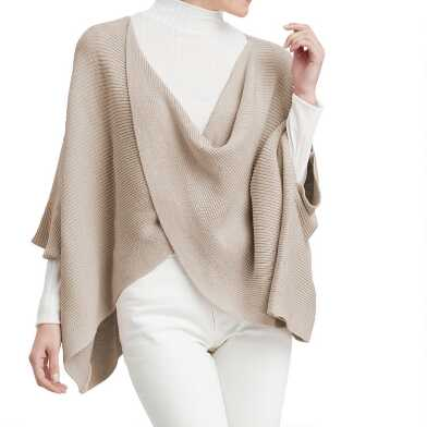 Oatmeal Knit Cross Front Poncho Sweater