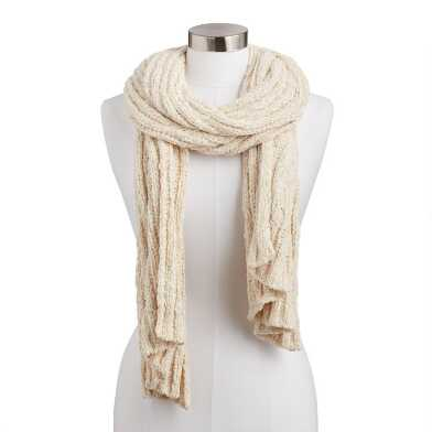 Ivory Chunky Knit Chenille Scarf