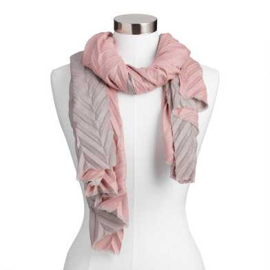 Gray And Blush Chevron Pleated Scarf