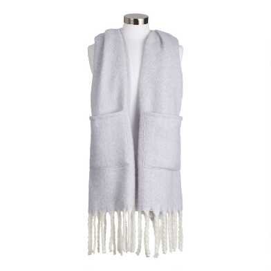 Gray Blanket Scarf With Pockets