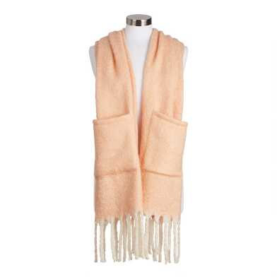 Peach Blanket Scarf With Pockets