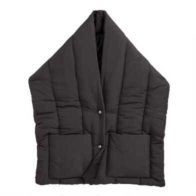 Black Puffer Scarf With Pockets