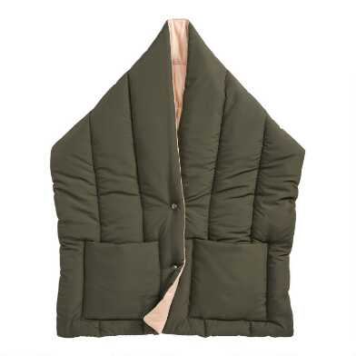 Olive Puffer Scarf With Pockets