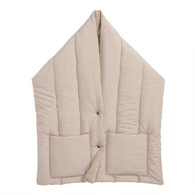 Tan Puffer Scarf With Pockets