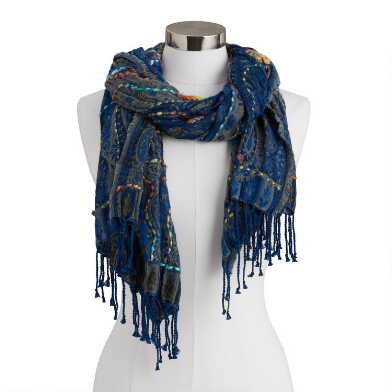 Navy Paisley Overstitched Jacquard Blanket Scarf