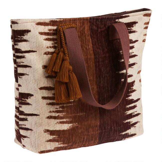 Brown, Black and Ivory Boucle Jacquard Tote Bag
