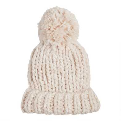 Ivory And Taupe Chunky Knit Beanie With Pom