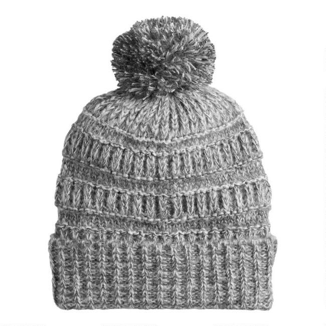 Marled Gray And Gold Knit Beanie With Pom