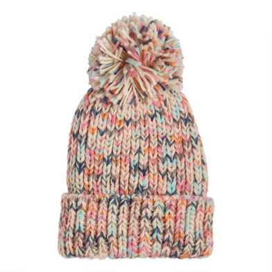 Multicolor Space Dye Chunky Knit Beanie With Pom