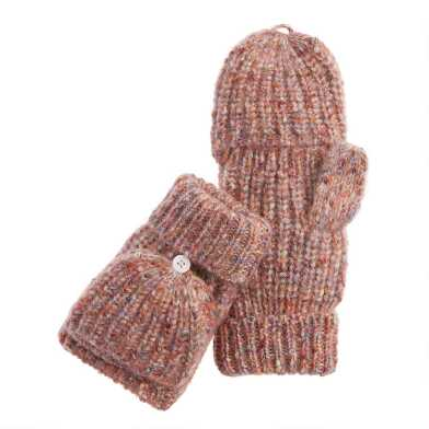 Brown Multicolor Knit Convertible Gloves