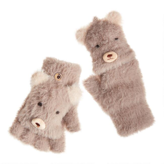 Bear Eyelash Knit Convertible Gloves