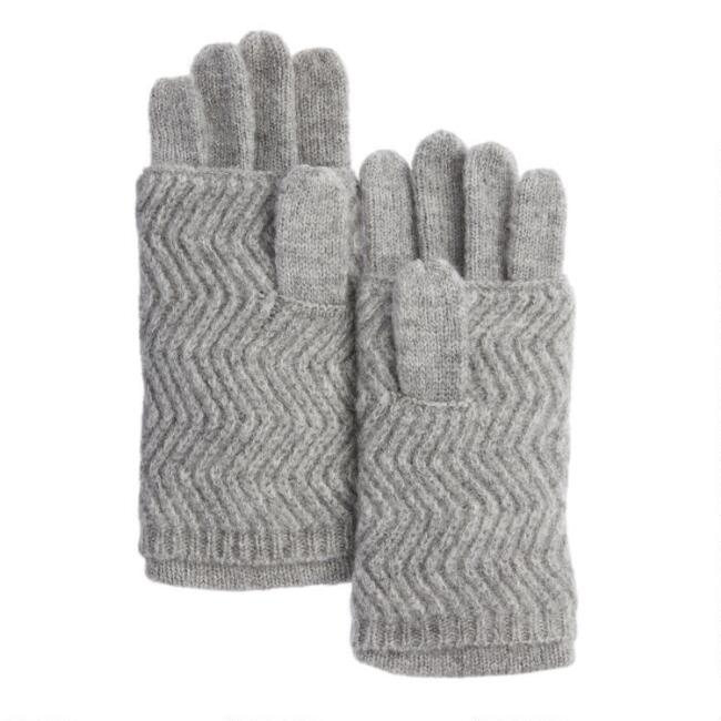 Gray And White 3 Way Convertible Texting Gloves