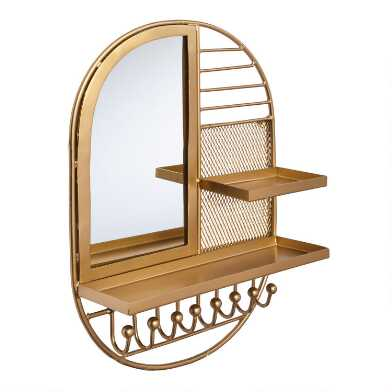 Gold Wall Mounted Jewelry Organizer With Mirror