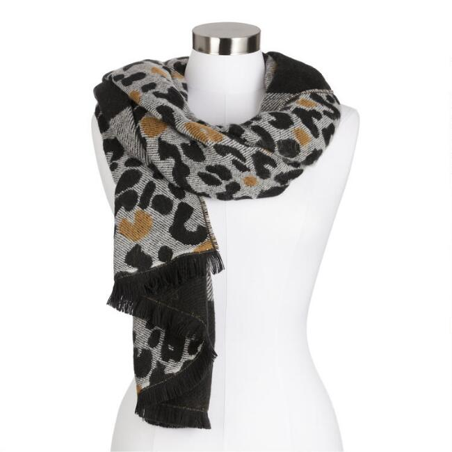 Animal Print Striped Fringe Scarf