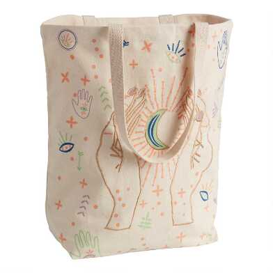Celestial Embroidered Canvas Tote Bag