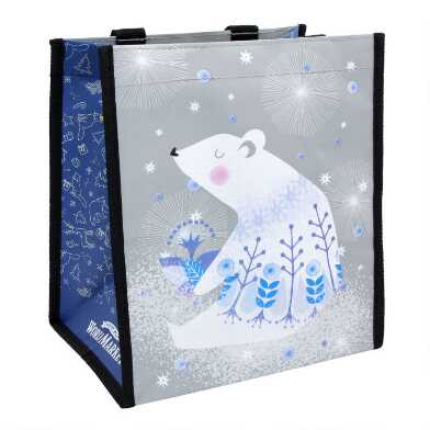 Small Nordic Polar Bear Tote Bags Set Of 2