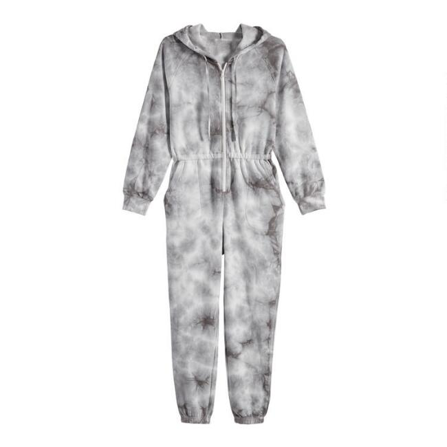 Gray Tie Dye Hooded Lounge Jumpsuit With Pockets
