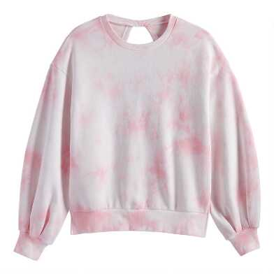 Blush Tie Dye Balloon Sleeve Lounge Sweatshirt