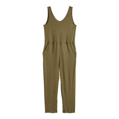 Olive Lounge Jumpsuit With Pockets