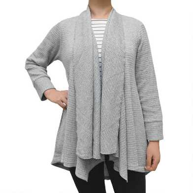Gray Waffle Open Front Lounge Cardigan With Pockets