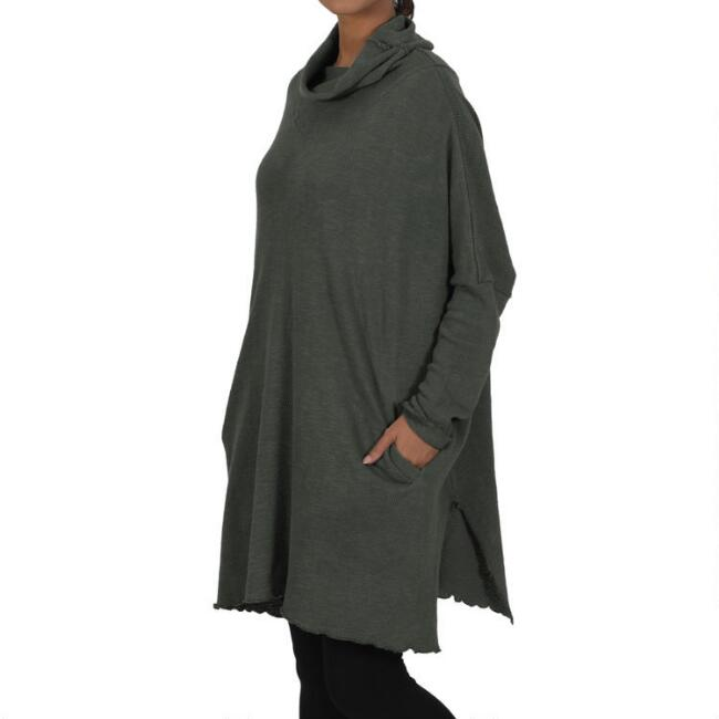 Olive Cowl Neck Lounge Tunic With Pockets