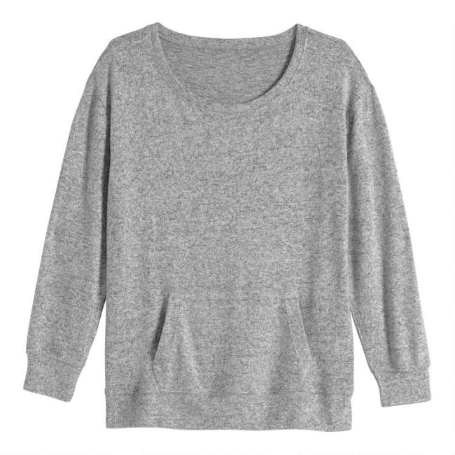 Gray Brushed Knit Lounge Top
