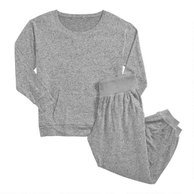 Gray Brushed Knit Loungewear Collection