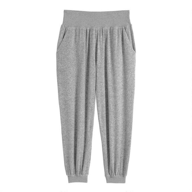 Gray Brushed Knit Lounge Joggers With Pockets