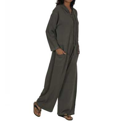 Olive Fleece Hooded Lounge Jumpsuit With Pockets