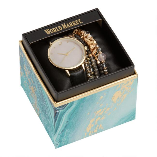 Black And Gold Mother Of Pearl Watch And Bracelet Gift Set
