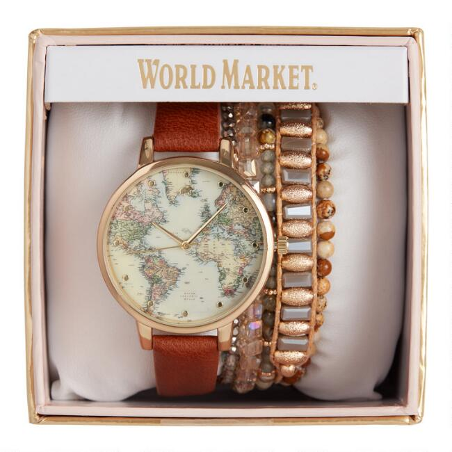 Brown And Gold World Map Watch And Bracelet Gift Set