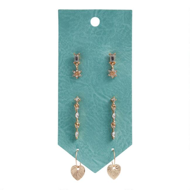 Gold and Glass Delicate Earrings 3 Pack