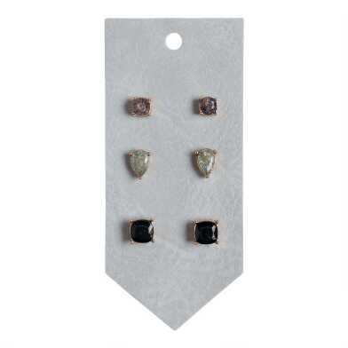 Gray And Blue Crackle Glass Stud Earrings 3 Pack