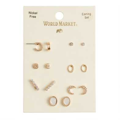 Gold Delicate Stud Earrings 7 Pack