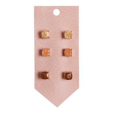 Ivory, Peach And Amber Crackle Glass Stud Earrings 3 Pack