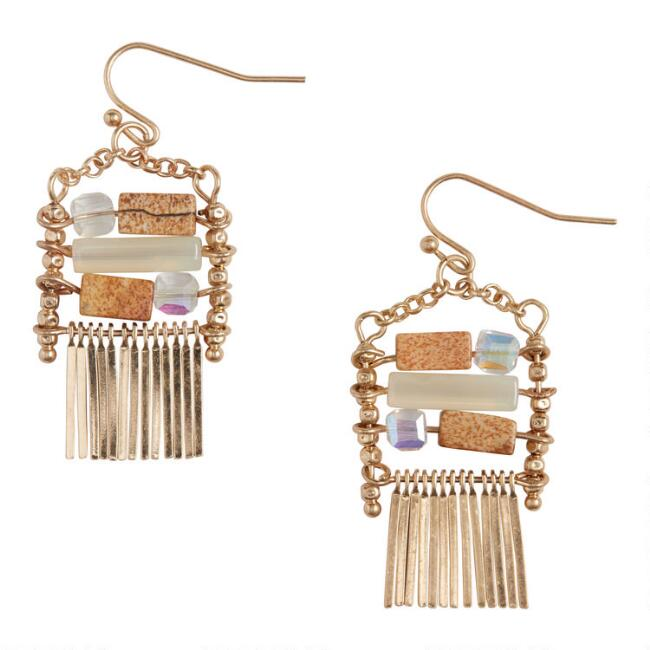 Small Gold Spoke Picture Jasper Beaded Drop Earrings