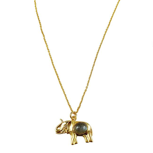 Gold Labradorite Elephant Pendant Necklace