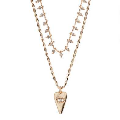 Gold Evil Eye Heart Double Layer Necklace
