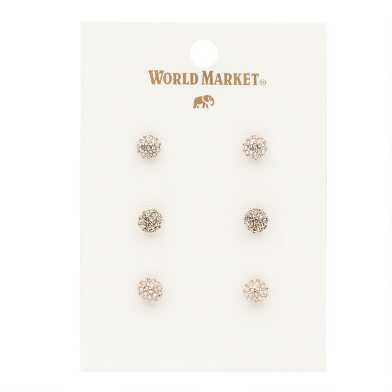 Rhinestone Ball Stud Earrings 3 Pack