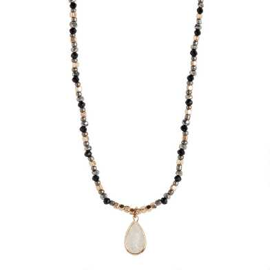 Gray And Gold Beaded Pendant Necklace