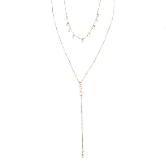 Rhinestone Double Layer Lariat Necklace
