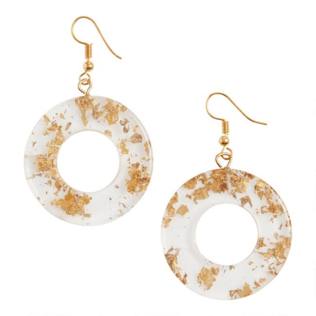 Ivory And Gold Fleck Acrylic Disk Drop Earrings