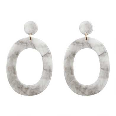 Gray And White Acrylic Long Drop Earrings