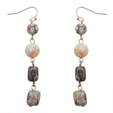 Gold Multi Stone Dangle Earrings